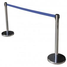 poste control peatonal acero inoxidable con cinta azul
