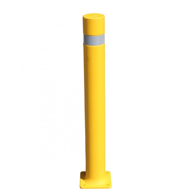 bolardo flexible con placa amarilla