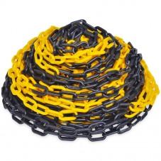cadena de plástico amarilla y negra